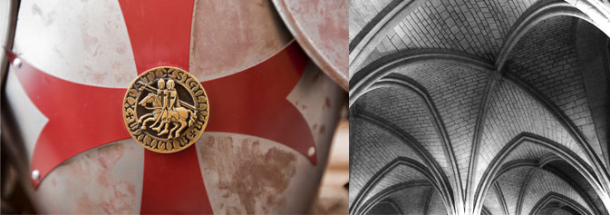 Loyola's medieval studies website banner containing an Medieval Shield and Architecture
