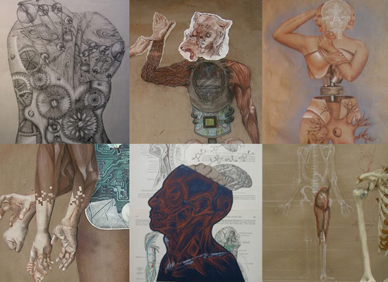 A collage of drawings of the human form with various cultural modifications