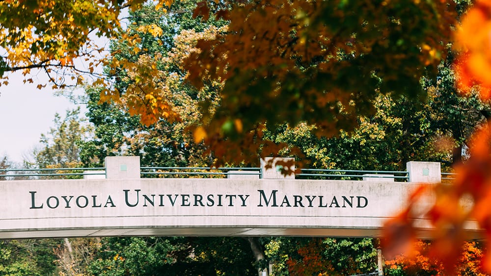 A bridge with the words Loyola University Maryland surrounded by fall foliage