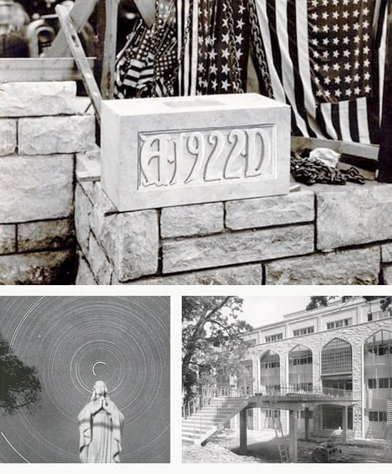 Historical black and white photos of buildings and a statue on campus