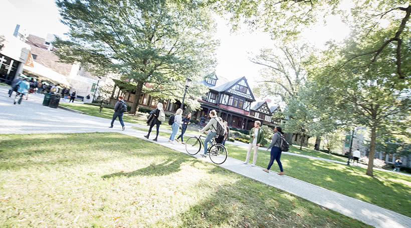 Students walking on the quad at Loyola University Maryland