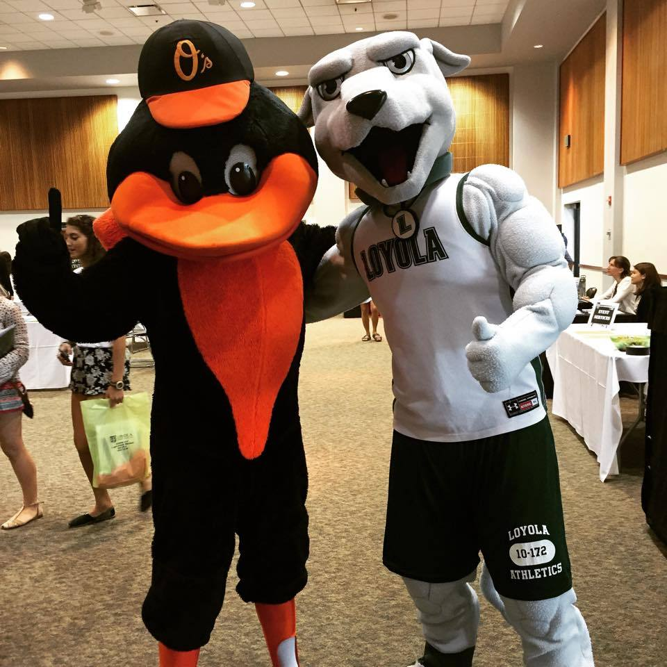 Orioles Mascot posing with the Greyhounds mascot Iggy